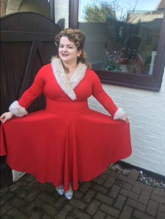 British Retro red dress