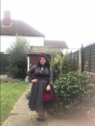 Smoke British Retro dress with vintage hat and bag set
