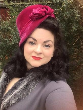 Smoke British Retro dress with hot pink vintage hat